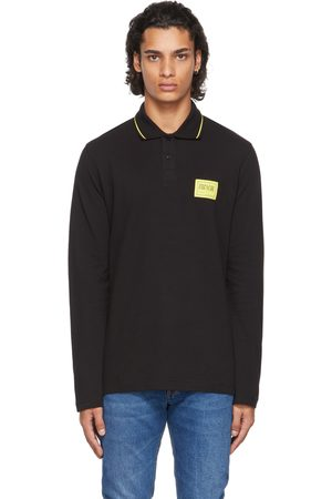 Versace Jeans Couture Black Patch Long Sleeve Polo