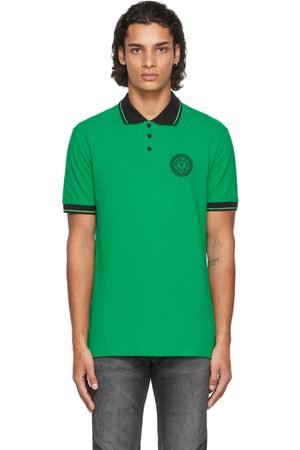 Versace Jeans Couture Green V-Emblem Motif Polo