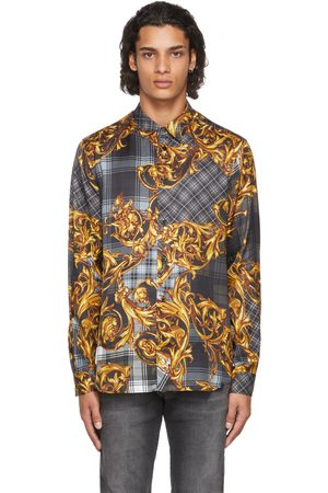 Versace Jeans Couture Black Tartan Baroque Shirt