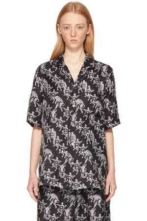 Burberry SSENSE Exclusive Black Mythical Alphabet Silk Logo Short Sleeve Shirt