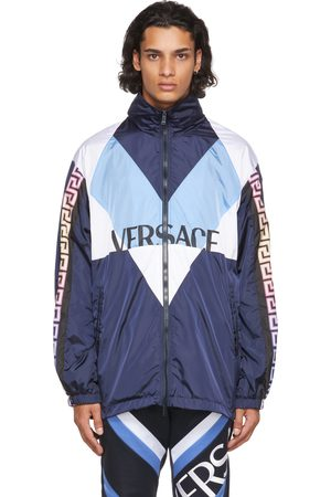 Versace Blue Nylon Logo Jacket