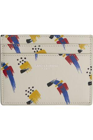 Saint Laurent Off-White Brush-Stroke Card Holder