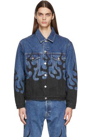Vetements Men Denim Jackets - Denim 'Black Flame' Jacket