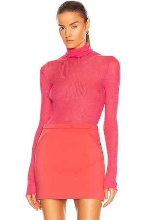 TOM FORD Cashmere Silk Rib Turtleneck Top in Pink