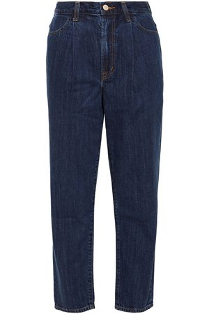 J Brand Women High Waisted - Woman Cropped Pleated High-rise Straight-leg Jeans Mid Denim Size 30