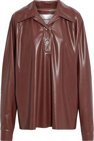 NANUSHKA Woman Keiron Gathered Vegan Leather Shirt Size L