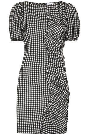 Ganni Asymmetric gingham-check dress