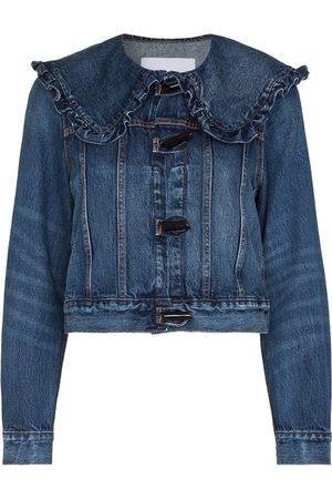 Ganni Women Denim Jackets - Ruffle-collar denim jacket