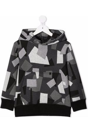 Stella McCartney Kids Boys Hoodies - Geometric camouflage hoodie - Grey
