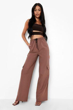 Boohoo Womens Tall Woven Wide Leg Cargo Trouser - - 2