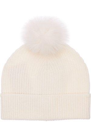 YVES SALOMON Cashmere Rib Knit Beanie W/ Fur Pompom