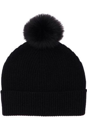 YVES SALOMON Girls Beanies - Cashmere Rib Knit Beanie W/ Fur Pompom