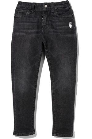 OFF-WHITE Boys Slim - Slim-Diag logo-print jeans
