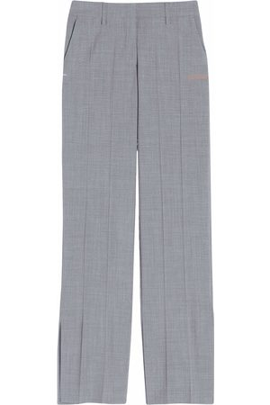 OFF-WHITE Pressed-crease straight-leg trousers - Grey