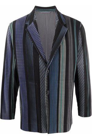 Homme Plissé Issey Miyake Pleated striped jacket