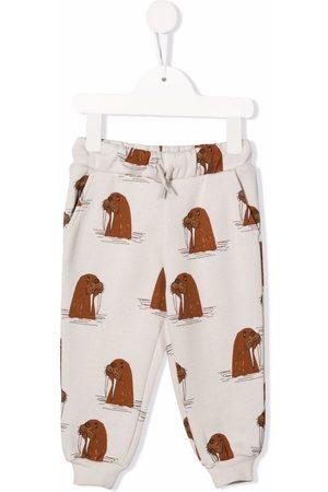 Mini Rodini Sweatpants - Walrus-print track pants - Grey