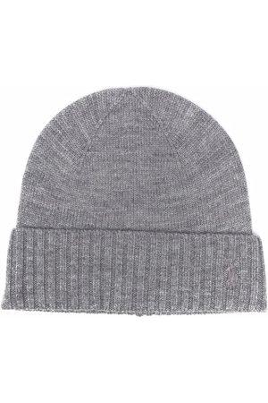 Ralph Lauren Boys Beanies - Ribbed-trim wool beanie - Grey