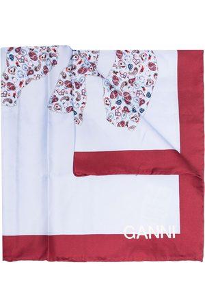 Ganni Women Scarves - Love-printed silk scarf