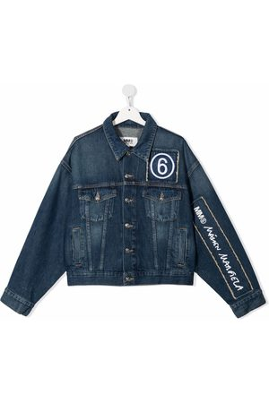 MM6 KIDS Denim Jackets - Embroidered-logo denim jacket