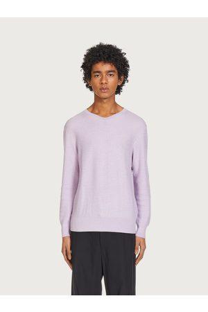 Salvatore Ferragamo Men Sweatshirts - Men Knitted V-neck sweater