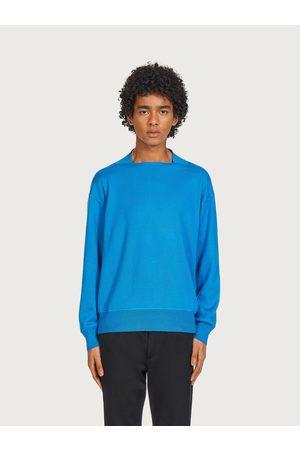 Salvatore Ferragamo Men Sweatshirts - Men Sweater with squared collar