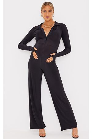 PRETTYLITTLETHING Maternity Slinky Button Through Collar Jumpsuit