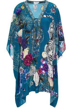 Camilla Women Printed Dresses - Woman Lace-up Crystal-embellished Printed Silk Crepe De Chine Kaftan Teal Size ONESIZE