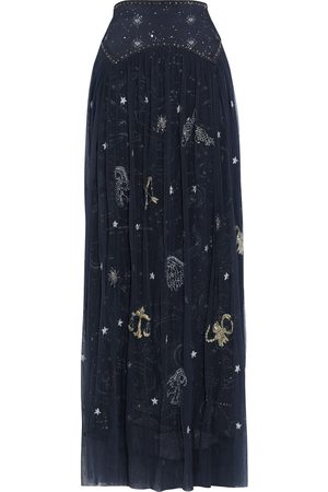 CAMILLA Women Printed Skirts - Woman Crepe De Chine-paneled Embellished Printed Tulle Maxi Skirt Midnight Size L