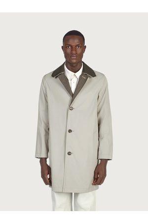 Salvatore Ferragamo Men Trench Coats - Men Trench with nappa details Grey