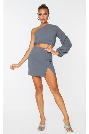 PRETTYLITTLETHING Women Party Dresses - Charcoal Grey Textured Woven Split Leg Mini Skirt