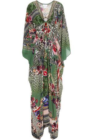 Camilla Woman Cold-shoulder Crystal-embellished Printed Silk Crepe De Chine Kaftan Leaf Size ONESIZE