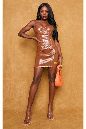 PRETTYLITTLETHING Women Bodycon Dresses - Chocolate PU Corset Binding Detail Strappy Bodycon Dress