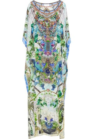CAMILLA Women Printed Dresses - Woman Crystal-embellished Printed Silk Crepe De Chine Kaftan Lime Size ONESIZE