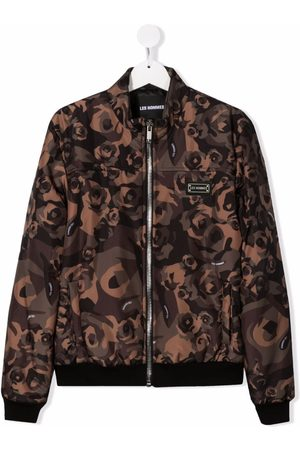 LES HOMMES KIDS TEEN floral print bomber jacket