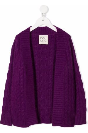 Douuod Kids Cable-knit open-front cardigan