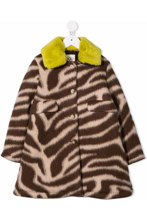 Douuod Kids Girls Coats - Zebra-print single-breasted coat