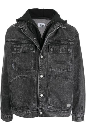 Izzue Men Denim Jackets - Hooded stonewashed denim jacket - Grey