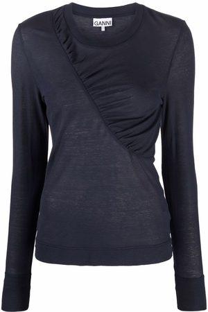 GANNI Gathered-detail long-sleeve top
