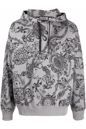 Versace Jeans Couture Baroque-print cotton hoodie - Grey