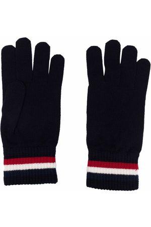 Moncler Men Gloves - Logo-stripe knit gloves