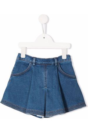 Elisabetta Franchi La Mia Bambina Pleated denim shorts