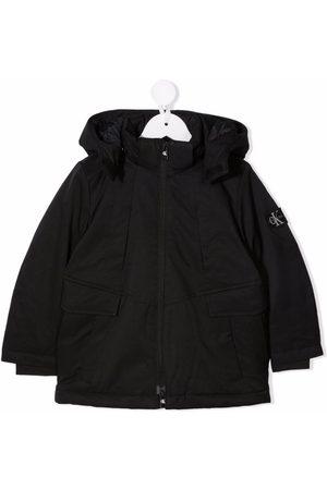 Calvin Klein Kids Boys Puffer Jackets - Hood logo-print zip-up jacket