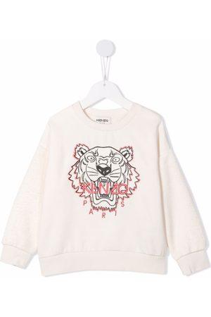 Kenzo Tiger-embroidered fleece sweatshirt - Neutrals