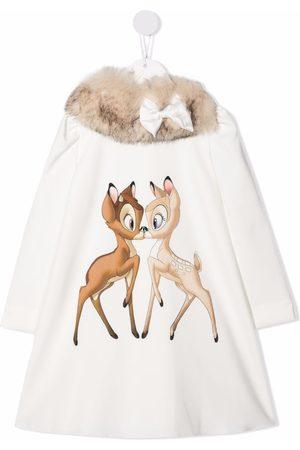 MONNALISA Bambi-print faux-fur trim dress