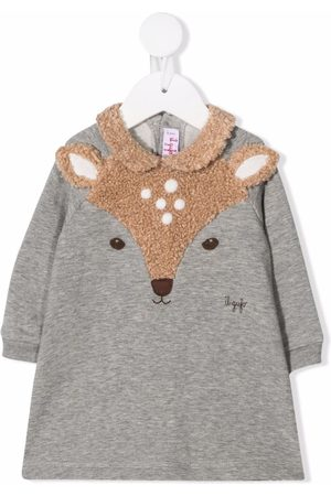 Il gufo Deer-panel knitted dress - Grey