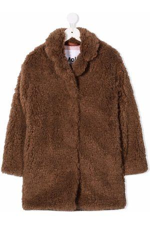 Molo Girls Coats - Shawl-lapel single-breasted faux-fur coat