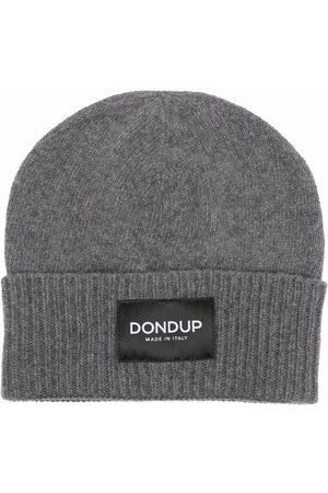 Dondup Men Beanies - Logo-patch knitted beanie - Grey