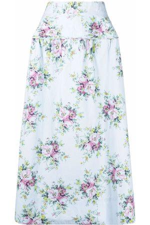 GANNI Floral print high-waisted skirt