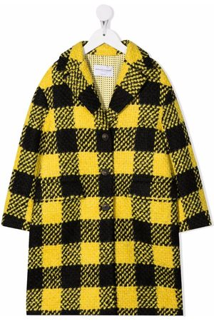 Ermanno Scervino Junior Girls Coats - Check-patterned wool-blend coat