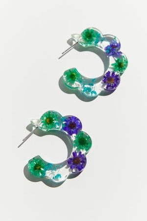 Urban Outfitters Scalloped Resin Flower Hoop Earring